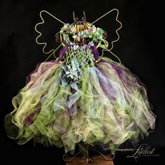 Enchanted Fairy Ware Forest sage and Plum Flower Fairy, Blue Butterfly on dress photography, wedding, party... colors