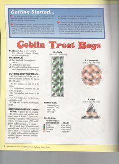 Goblin Treat Bag Plastic Canvas Tissue Boxes, Plastic Canvas Crafts, Plastic Canvas Patterns, Halloween Canvas, Halloween Crafts, Halloween Baskets, Plastic Canvas Christmas, Treat Holder, Halloween Patterns