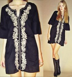 60s Magical Gold Embroidered Puff Sleeved Mini by LucyInDesguise, kr300.00