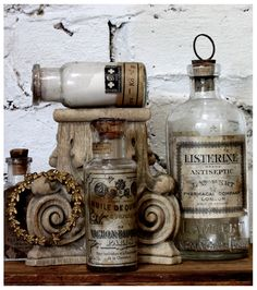Vintage Neutrals - La Maison Gray - Interiors I have the Listerine bottle in one of my collections Apothecary Bottles, Altered Bottles, Antique Bottles, Vintage Bottles, Bottles And Jars, Glass Bottles, Vintage Perfume, Antique Glass, Apothecary Decor