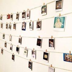 Polaroid display - creative gallery wall ideas - Polaroid wall - Pictures on Wall ideas Polaroid Pictures Display, Polaroid Display, Hanging Polaroids, Polaroid Decoration, Display Pictures, Hanging Photos, Photo Polaroid, Polaroid Wall, Polaroids On Wall