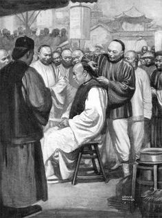 Chinese men having their 'queues' cut off after the fall of the Qing Dynasty
