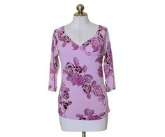 New York & Company Rose Pink Floral Ruched Waist Vneck 3/4 Sleeve Blouse Size S #NewYokrCompany #Blouse #Casual