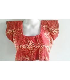Red Brocade Back Open Heavy Blouse