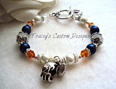 NFL - Chicago Bears Swarovski Crystal & Pearl Bracelet - Can custom make for ANY TEAM.