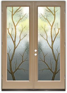 Branch Out in Color - Double Entry Doors Hand-crafted, sandblast frosted and 3D carved.  Available as interior or entry door in 8 woods and 2 fiberglass. Slab door or prehung any size, or as glass insert only.  Our fun, easy to use online Glass and Door Designer gives you instant pricing as YOU customize your door and glass!  When you're all finished designing, you can place your order right there online!  Doors ship worldwide from Palm Desert, CA