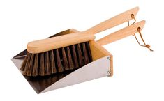 Multi-purpose Magnetic Dust Pan & Brush Set by Redecker features a horsehair brush and stainless steel dustpan with oiled beechwood handles. An ingenious magnet connects the hand brush and dustpan when not in use. Crafted in Germany Size: in length Brooms And Brushes, Dustpans And Brushes, Rack Design, Pan Set, Design Within Reach, Assemblage, Waldorf Dolls, Horse Hair, Brushed Stainless Steel
