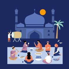 Illustration and GIF animation artworks for Uber Ramadhan campaign, The campaign focuses on helping riders reach out to loved ones during Ramadan. Poster Ramadhan, Ramadhan Quotes, Flat Design Illustration, Illustration Art, Islamic Paintings, Buch Design, Islamic Wallpaper, Islamic Art, Creative Art