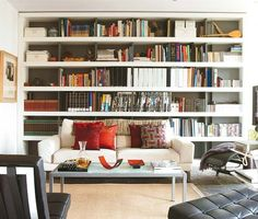50 Ideas To Organize A Home Library In A Living Room - Shelterness Metal Barn Homes, Metal Building Homes, Living Pequeños, Living Room, Home Library Rooms, Library Bookshelves, Bookcases, Sliding Room Dividers, Loft Spaces