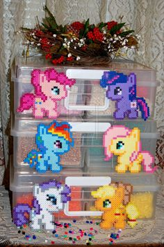 My Little Pony - The Mane 6 Chibi Perlers by *Akira-The-Alicorn on deviantART