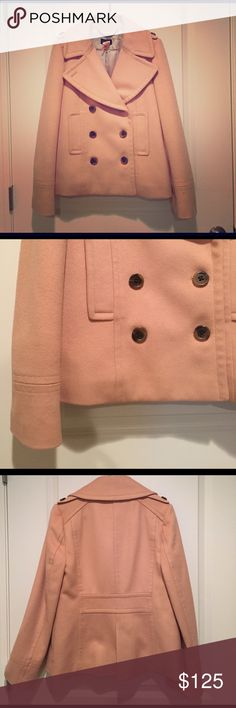 "J.Crew coat This wool pea coat is just what your winter wardrobe needs - it's feminine, classic, and flattering. And best of all, the blush color is very on-trend. 100% wool with ""Thinsulate"" lining for extra warmth. Looks as great with jeans as it does with a dress. It's in excellent condition. *Just had it dry cleaned! J. Crew Jackets & Coats Pea Coats"