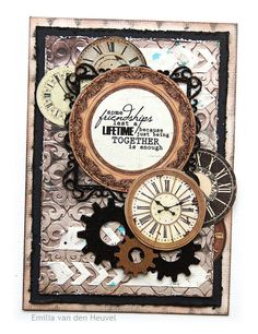 Interesting how this mixed media card uses Steampunk elements like clocks and gears but doesn't come across as Steampunk.