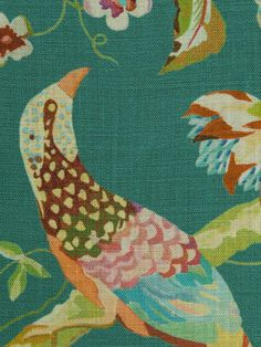 Artistic bird fabric in aqua, java, pink, lemon, ivory and orange on a soft jade green background.