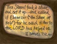 "What does Ebenezer mean? ""Stone of help"" or ""Hitherto the Lord had helped us"" (I Samuel One of the most catastrophic military losses. James Weldon Johnson, Bible Commentary, Names Of God, Sunday School Lessons, Morning Prayers, Stone Heart, Praise And Worship, Gods Promises, Bible Lessons"