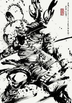 Japanese Art Samurai, Japanese Artists, Creepy Sketches, Ronin Samurai, Samurai Artwork, Tinta China, Samurai Tattoo, Expressive Art, Manga Artist