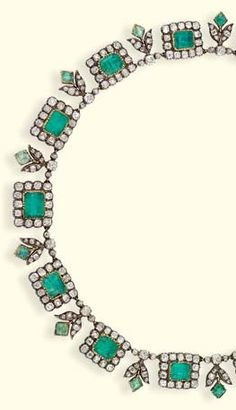 A LATE GEORGIAN EMERALD AND DIAMOND NECKLACE. Designed as a slightly graduated line of emerald and diamond clusters to the emerald and diamond foliate spacers (emeralds foil backed), mounted in silver and gold, circa 1820, 38.6 cm. long. #Georgian #antique #necklace