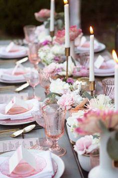 Vintage pink wedding tablescape