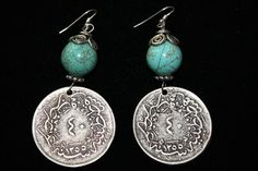 Turquoise Bead Coin Earrings  $ 65.00