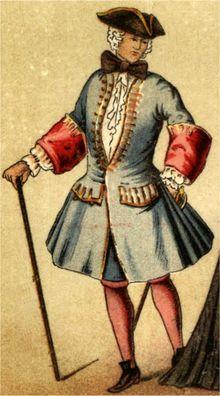Les longues vestes du XVIIIème siècle gardaient encore l'aspect de la jupe.