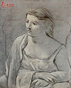 Pablo Picasso (Spanish, 1881–1973): Woman in White, 1923. Neoclassicist & Surrealist Period. Oil, water-based paint, and crayon on canvas. 39 x 31-1/2 inches (99.1 x 80 cm). Metropolitan Museum of Art, New York, NY, USA. © 2011 Estate of Pablo Picasso / Artists Rights Society (ARS), New York. © This artwork may be protected by copyright. It is posted on the site in accordance with fair use principles.