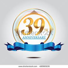 39th anniversary golden logo with blue ribbon and golden ornament