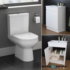 Cesar  Toilet & 600mm Trent Basin Cabinet Set  - Gloss White - BathEmpire