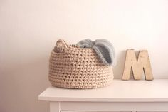 Trapillo basket. Crochet XL cotton handmade basket for home.