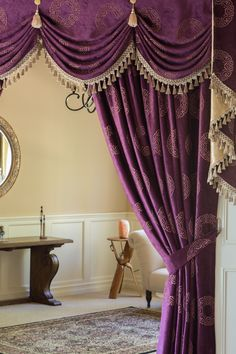 Victorian style curtain set with swags and valances comes in purple color damask cotton chenille with classic patterns. Home Improvement Projects, Home Projects, Plum Bedding, Valance Patterns, Moroccan Bedroom, Curtain Styles, Swag Style, Curtain Sets, Drapes Curtains