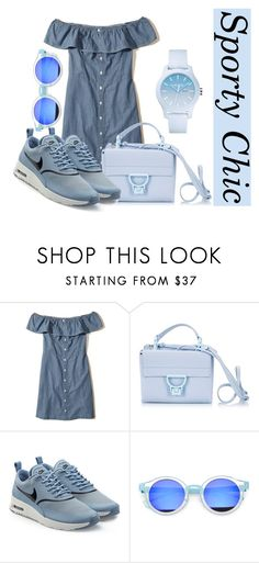 """""""Sporty Chic"""" by asdfghjkl-lara ❤ liked on Polyvore featuring Hollister Co., Coccinelle, NIKE, Lacoste, chic, Blue, sporty and SNEAKERSANDDRESSES"""