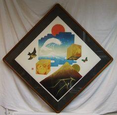 Makoto Ouchi silkscreen Keshiki 11:25 1979 original Kato frame listed Japanese artist by ElegantPossessions on Etsy