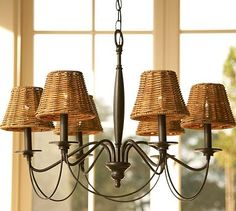 Graham Chandelier - Pottery Barn $179.  Does not come with shades.  And the bulbs are pretty by themselves.