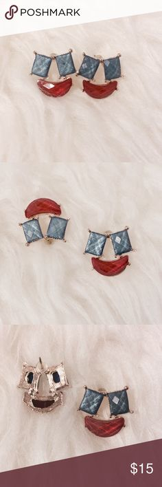 ☀️ Red & Blue 'Smile' Earrings Adorable! These fun red and blue earrings will brighten up your day. Small enough to ware casually and sophisticated enough to wear for special occasions. Fashion jewelry Jewelry Earrings
