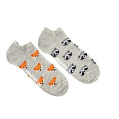 Fox and Raccoon Ankle Socks | Mismatched by Design | Friday Sock Co.  Ethically made in Italy, Locally designed. Click the link to see more!