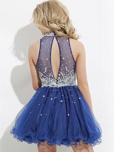 Azul Una línea / Princesa de cuello alto sin mangas Volantes corto / mini vestido de organza por €405,84