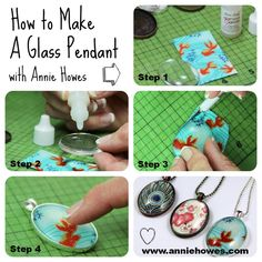 How to make Glass Jewelry Pendants in Pendant Trays with Annie Howes. by victoriaruby Resin Jewelry, Glass Jewelry, Pendant Jewelry, Jewelry Crafts, Handmade Jewelry, Resin Crafts, Photo Jewelry, Pendant Necklace, Crafts To Make