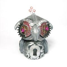 The Adorable Steampunk Owl - mech - mechanical - industrial - sculpture - animal - bird. $55.00, via Etsy.