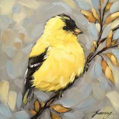 "5x5"" oil on panel commission #goldfinch #birdart #birds #painting #laveryart #brushstrokes #etsy #art"
