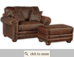 Oversized leather chair and ottoman.  Would LOVE this for our sitting area in our bedroom!