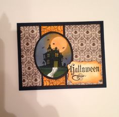 Halloween card using ginak Fabulous Frame stamp.  First time I've tried doing an inked background.