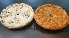 """Η Συνταγή είναι από κ. Γιώργος Παπαπαράσχου  – """"Συνταγες μαγειρικης ζαχαροπλαστικης""""    ΥΛΙΚΑ  Ψήσιμο μελιτζάνων  Τσιγάρισα πρώτα 5 μεγάλα κρεμμύδια και πρόσθεσα τον μοσχαρίσιο κιμά!  Εβαλα 200γρ τρίμματα κεφαλογραβιέρα  4 αυγά  2κσ βρώμη  Ψημένες πιπεριές φλωρίνης!    ΥΛΙΚΑ  ΖΥΜΗΣ  Αλεύρι 750 γρ  Νερό 360 γρ  Λάδι 20 γρ  Ξύδι Camembert Cheese, Dairy, Food, Essen, Meals, Yemek, Eten"""