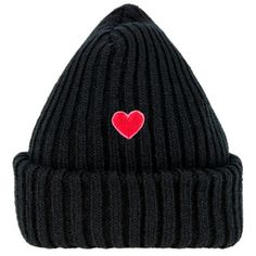 HEART CLUBHeart Embroidered Ribbed Knit Beanie | MIXXMIX ❤ liked on Polyvore featuring accessories, hats, bunny hat, rib knit beanie, foldable hat, rib knit hat and beanie cap hat