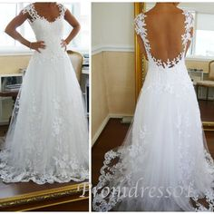 2015 cute sweep train white lace sweetheart straps backless prom dress for teens, ball gown, evening dress, wedding dress #promdress