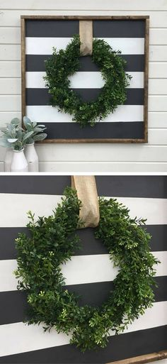 Boxwood wreath framed wood sign | faux boxwreath | black & white striped | rustic decor | farmhouse decor | farmhouse wall decor | stripes | burlap ribbon | shabby chic decor #ad