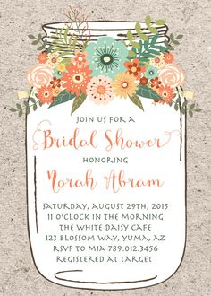 mason jar bridal shower invitation printable by invitedbyaudriana bridal shower centerpieces bridal shower cakes rustic