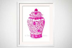 Pink Ginger Jar Art Hot Pink Chinoiserie Art by BeachHouseGallery