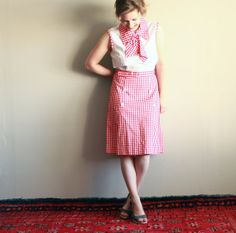 Vintage Red Gingham Sleeveless Dress JCPenney by CaprockVintage, $32.00