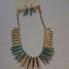 Necless set Beautiful stones & beads turquoise light creme and gold chain Necless set. lead and Nicol free Accessories