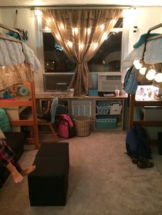 """""""I like the layout of this room how they lifted the beds. It's a UGA dorm too"""" for if we get stuck in a high rise My New Room, My Room, Uga Dorm, Lofted Dorm Beds, Dorm Hacks, Dorm Design, College Dorm Decorations, Dorm Life, College Life"""