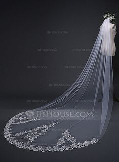 Cathedral Bridal Veils Tulle One-tier Classic Lace Applique Edge Applique 118.11 in (300cm) Ivory Ivory Wedding Veils