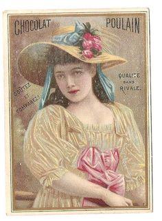 Jeune fille  Costume robe chapeau - - Chromo Chocolat Poulain - Trade Card